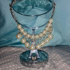 Pearl white with gold necklace
